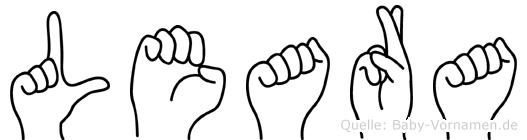 Leara im Fingeralphabet der Deutschen Gebärdensprache