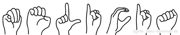 Melicia im Fingeralphabet der Deutschen Gebärdensprache