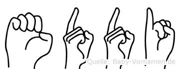 Eddi im Fingeralphabet der Deutschen Gebärdensprache