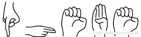 Phebe im Fingeralphabet der Deutschen Gebärdensprache