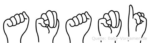 Anani im Fingeralphabet der Deutschen Gebärdensprache