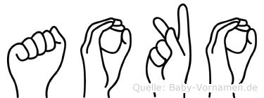 Aoko im Fingeralphabet der Deutschen Gebärdensprache