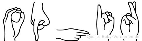 Ophir im Fingeralphabet der Deutschen Gebärdensprache