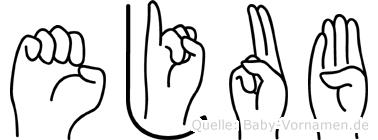 Ejub im Fingeralphabet der Deutschen Gebärdensprache