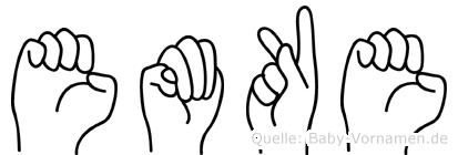 Emöke im Fingeralphabet der Deutschen Gebärdensprache