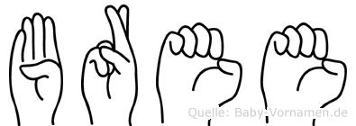 Bree im Fingeralphabet der Deutschen Gebärdensprache