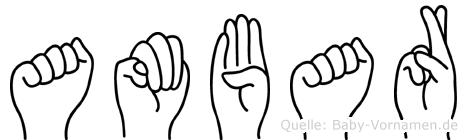 Ambar im Fingeralphabet der Deutschen Gebärdensprache