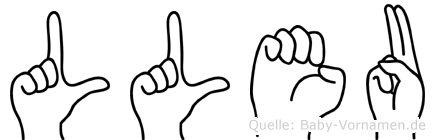 Lleu im Fingeralphabet der Deutschen Gebärdensprache