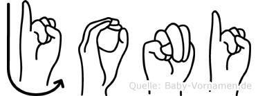 Joni im Fingeralphabet der Deutschen Gebärdensprache