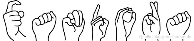 Xandora im Fingeralphabet der Deutschen Gebärdensprache