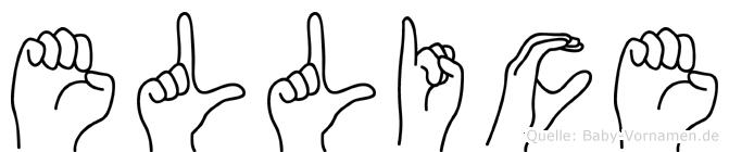 Ellice im Fingeralphabet der Deutschen Gebärdensprache