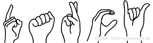 Darcy im Fingeralphabet der Deutschen Gebärdensprache