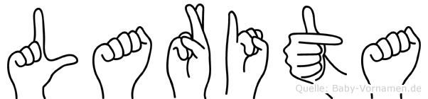 Larita im Fingeralphabet der Deutschen Gebärdensprache