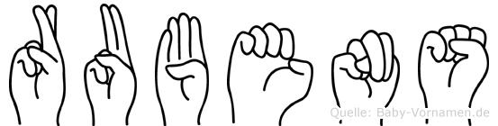 Rubens im Fingeralphabet der Deutschen Gebärdensprache