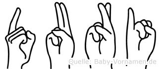 Duri im Fingeralphabet der Deutschen Gebärdensprache