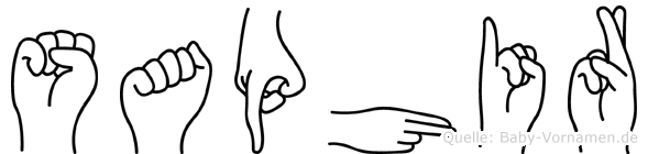 Saphir im Fingeralphabet der Deutschen Gebärdensprache