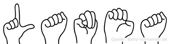 Lanea im Fingeralphabet der Deutschen Gebärdensprache