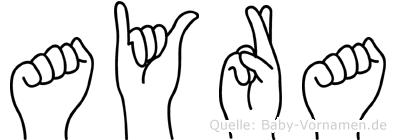 Ayra im Fingeralphabet der Deutschen Gebärdensprache