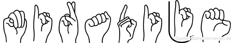 Miradije im Fingeralphabet der Deutschen Gebärdensprache