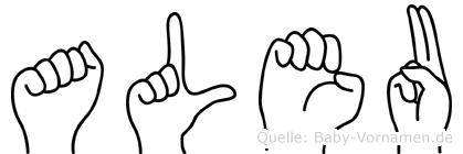Aleu in Fingersprache für Gehörlose