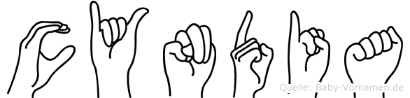 Cyndia im Fingeralphabet der Deutschen Gebärdensprache