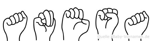 Anesa im Fingeralphabet der Deutschen Gebärdensprache