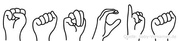 Sancia im Fingeralphabet der Deutschen Gebärdensprache