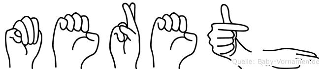 Mereth im Fingeralphabet der Deutschen Gebärdensprache