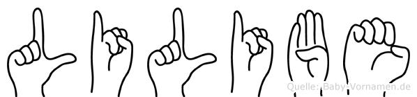 Lilibe im Fingeralphabet der Deutschen Gebärdensprache