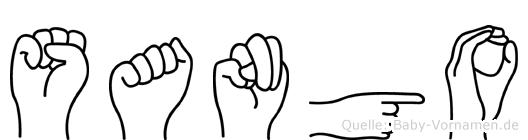 Sango im Fingeralphabet der Deutschen Gebärdensprache