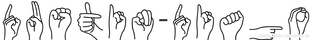 Dustin-Diago im Fingeralphabet der Deutschen Gebärdensprache