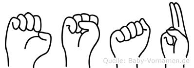 Esau im Fingeralphabet der Deutschen Gebärdensprache