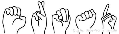 Ernad im Fingeralphabet der Deutschen Gebärdensprache