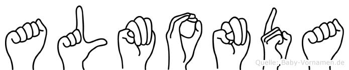Almonda im Fingeralphabet der Deutschen Gebärdensprache