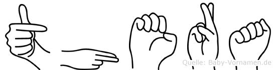 Thera im Fingeralphabet der Deutschen Gebärdensprache