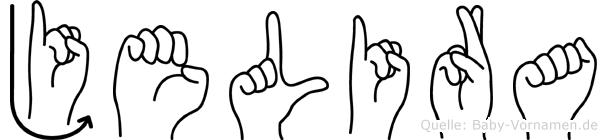 Jelira im Fingeralphabet der Deutschen Gebärdensprache