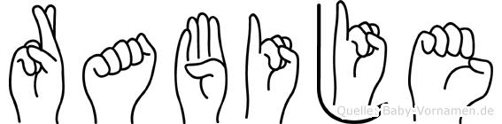 Rabije im Fingeralphabet der Deutschen Gebärdensprache