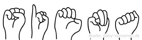 Siena im Fingeralphabet der Deutschen Gebärdensprache