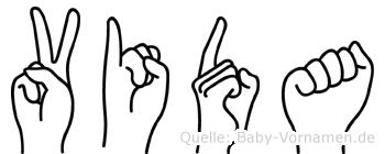Vida im Fingeralphabet der Deutschen Gebärdensprache