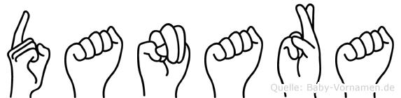 Danara im Fingeralphabet der Deutschen Gebärdensprache