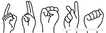 Duska im Fingeralphabet der Deutschen Gebärdensprache