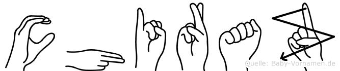 Chiraz im Fingeralphabet der Deutschen Gebärdensprache