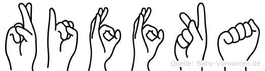 Riffka im Fingeralphabet der Deutschen Gebärdensprache