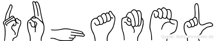 Duhamel im Fingeralphabet der Deutschen Gebärdensprache