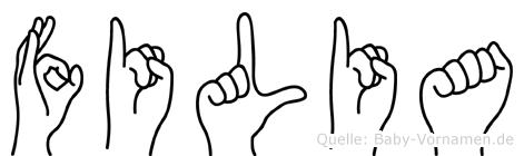 Filia im Fingeralphabet der Deutschen Gebärdensprache