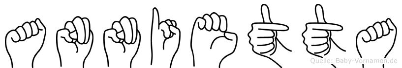 Annietta im Fingeralphabet der Deutschen Gebärdensprache