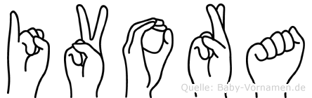 Ivora im Fingeralphabet der Deutschen Gebärdensprache