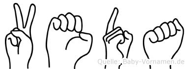 Veda im Fingeralphabet der Deutschen Gebärdensprache