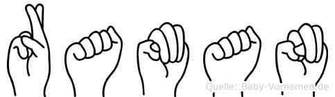 Raman im Fingeralphabet der Deutschen Gebärdensprache
