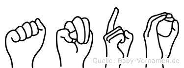 Ando im Fingeralphabet der Deutschen Gebärdensprache